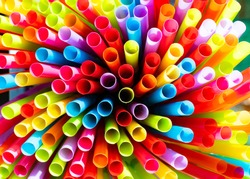Drinking straws colorful coming together.