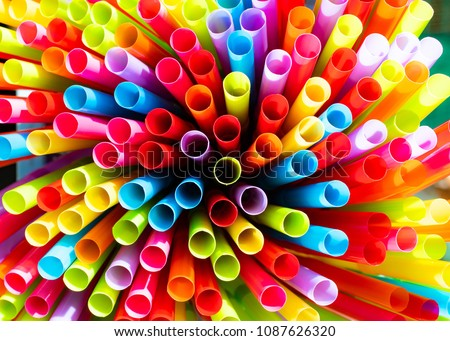 Drinking straws colorful coming together. #1087626320
