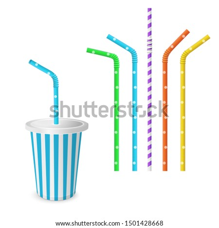 Drinking Striped and colorful straws for beverage. isolated on a white background. Plastic fast food cup for beverages with straw.