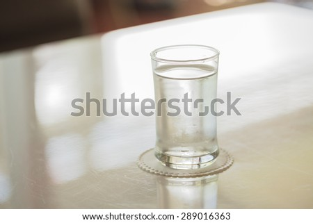 Drinking water glass on desk