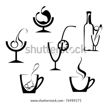 Drinks and beverages icons isolated on white. Vector version also available in gallery