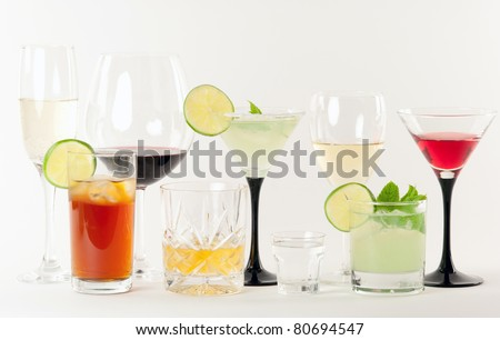 drinks and cocktails Isolated on White Background