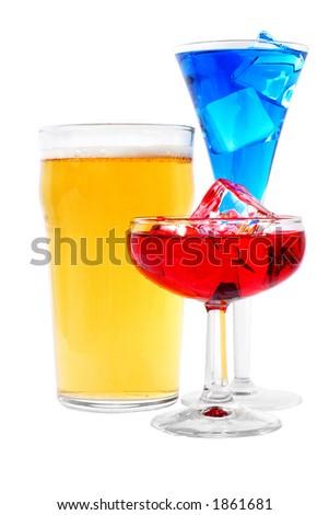 Drinks over white - stock photo