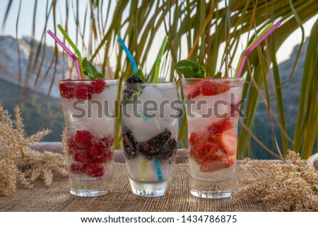 Drinks Refreshing. Bright summer refreshments made from juicy fruits. Three glasses of ripe fruit and berries with ice and mint on the background of the hill #1434786875