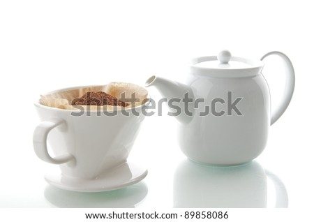 Drip coffee cup with teapot