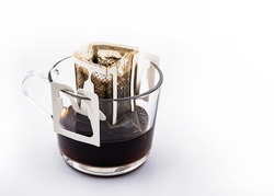 Drip or brewed coffee, Drip bag of fresh coffee, Morning coffee drip