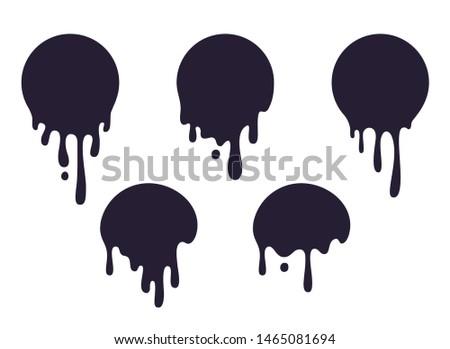 Dripping circle paint. Round liquid blob drops, ink graffiti splash shape, chocolate caramel milk leak.  circular paint black splatter spot set