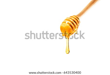 dripping honey on wooden dipper white background with room for copy space