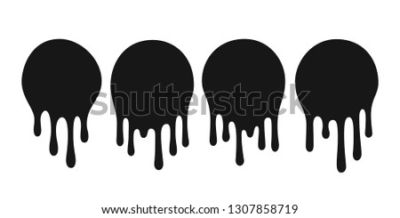 Dripping oil blob. Drip drop paint or sauce stain drips. Black drippings sauces current round spots, ink paint leak or liquid chocolate  isolated icons set