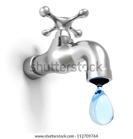 Dripping tap with drop on white background