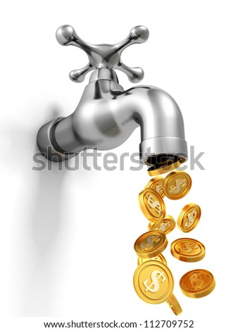 dripping tap with golden coins. welth concept