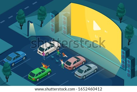 Drive cinema, car open air movie theater, isometric design. People in cars at night parking, watching outdoor drive cinema on blank empty screen with sound speakers