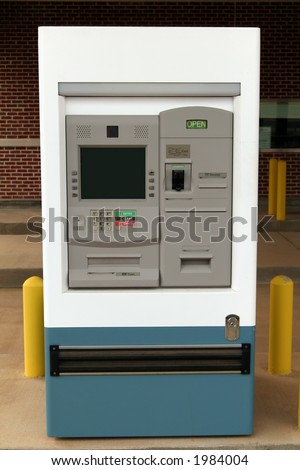 Drive-thru ATM machine. The screen is blank so you can enter your own text or image