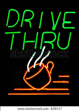 Drive Thru Coffee Shop neon sign