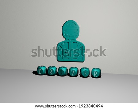 driver 3D icon on the wall and text of cubic alphabets on the floor, 3D illustration Stockfoto ©