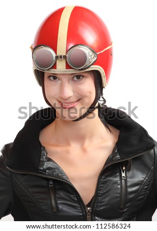 Driver in retro helmet.