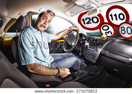 driver inside the car, scared expression. glass filled signal speed limit