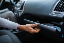 Driver Opening Empty Glovebox Compartment Inside Car