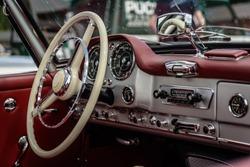 Driver's cockpit of a classic car