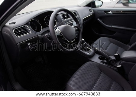 Driver's seat of the car.interior car #667940833