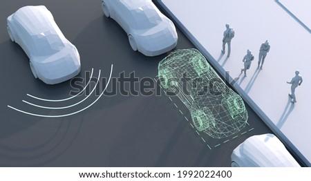 Driverless self driving, autonomous vehicle, autopilot vehicle with lidar technology, electric vehicle 3d illustration
