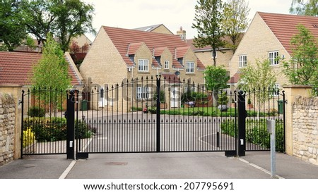 Driveway and Entrance of an Upscale Gated Community Housing Estate