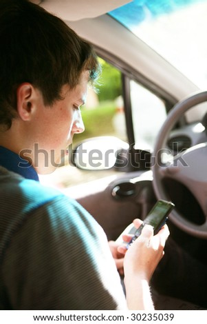 Driving a car - stock photo