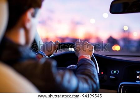 Driving a car at night Stock foto ©