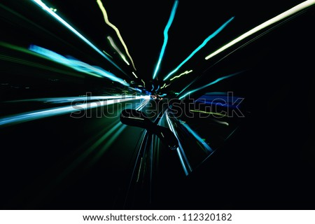 Driving a car at night. Motion blur.