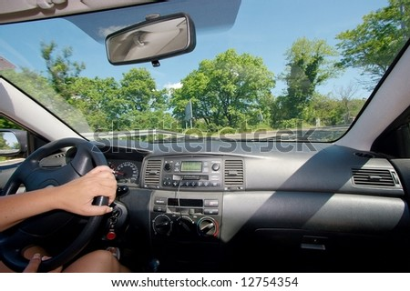 Driving a car viewed from inside