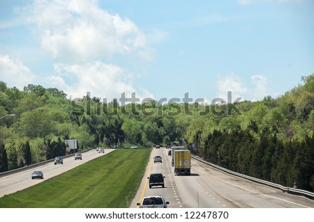 Driving Along The Interstate Highway In Kentucky USA