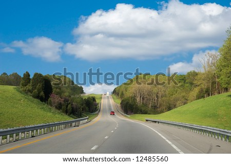 Driving Along The Interstate Highway In Kentucky USA - stock photo