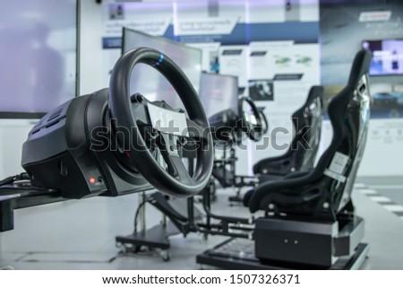 driving game simulator Virtual reality videogame race simulator