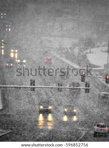 Driving in Blizzard winter storm dangerous traffic traveling  #596852756