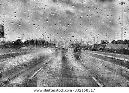 Driving in rain storm