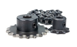 Driving industrial roller chain and sprockets on a white background.