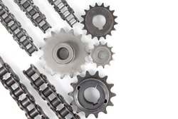 Driving industrial roller chain and sprockets. Top view with copy space