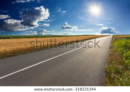 Driving on an empty asphalt road through the agricultural fields towards the setting sun.