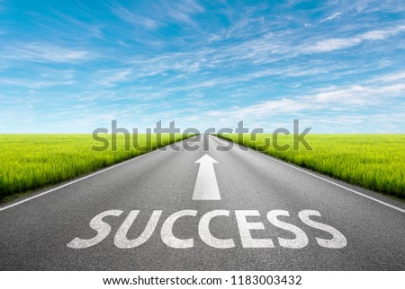 Driving on an empty asphalt road through the green agricultural fields at idyllic sunny day. Business concept for the success.  #1183003432
