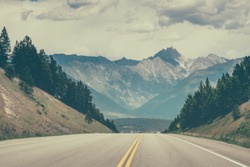 Driving on the road across British Columbia, Canada