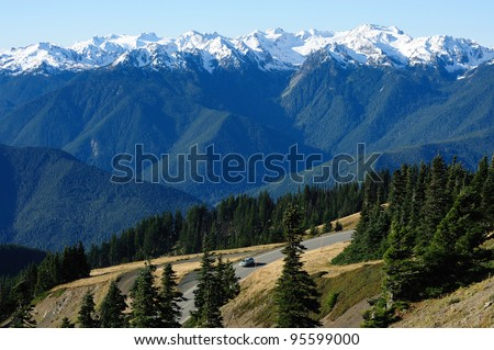 driving on top of hurricane ridge at olympic national park, washington, usa