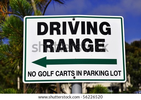Driving Range direction sign at a golf course