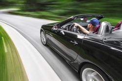 Driving sports car
