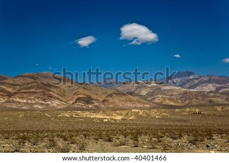 driving SR 190 thru the Death Valley in the small Panamint valley and the  Slate Range von Wildrose, direction aus Ridgecrest, view to the Panamint mountains