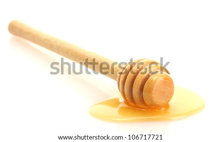 drizzler with sweet honey  isolated on white