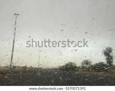 Drizzling drops on window shields