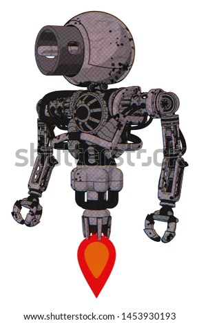 Droid containing elements: cable connector head, heavy upper chest, no chest plating, jet propulsion. Material: Dark  ink dots sketch. Situation: Standing looking right restful pose.