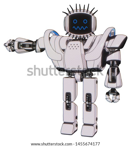 Droid containing elements: digital display head, stunned expression, eye lashes deco, heavy upper chest, heavy mech chest, battle mech chest, prototype exoplate legs. Material: White halftone toon.