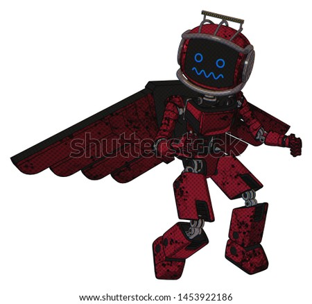Droid containing elements: digital display head, stunned expression, led and protection bars, light chest exoshielding, ultralight chest exosuit, pilot's wings assembly, prototype exoplate legs.