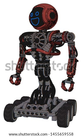 Droid containing elements: digital display head, wide smile, heavy upper chest, no chest plating, six-wheeler base. Material: Grunge matted orange. Situation: Standing looking right restful pose.